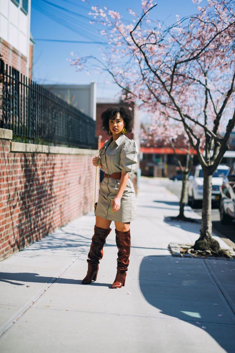 Tristen Zaryn Dewar wearing a Khaki poplin dress